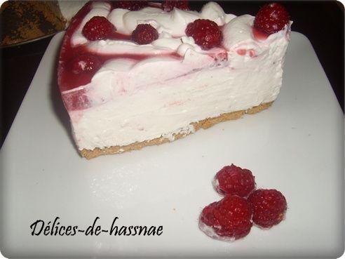 cheesecake aux framboises sans cuisson:تشيزكيك التوت البري بدون طهي