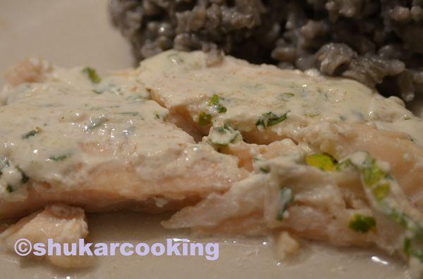 Poisson blanc sauce yaourt et coriandre