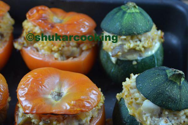 Tomates et courgettes farcies au poisson