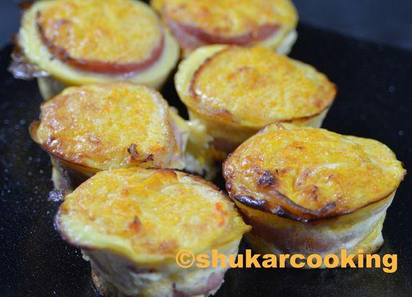Muffins d'automne: potimarron, champignons et lard fumé