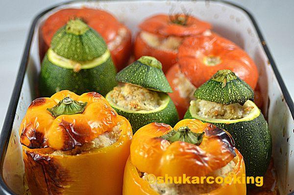 Légumes farcie à la grecque (poulet feta)