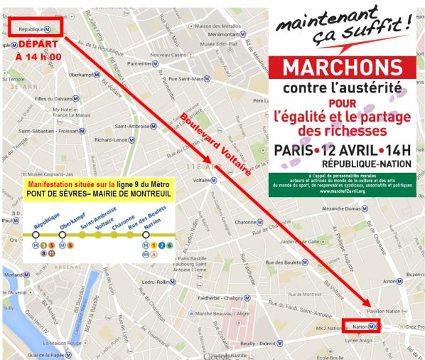 MANIFESTATION contre L'AUSTÉRITÉ - samedi 12 avril 2014 à PARIS - infos pratiques : PLAN D'ACCÈS - TRAJET ...etc