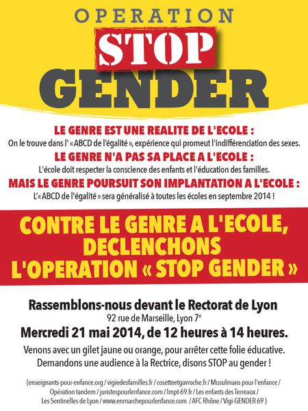 Lyon manifestation contre le &quot&#x3B;gender&quot&#x3B; 21 mai