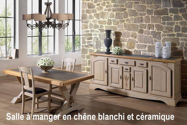 Salle manger rustique en bois blanchi avec c ramique for Salle a manger en chene massif moderne