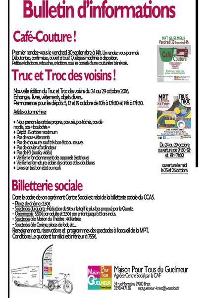 Billetterie sociale, Truc et Troc, Couture !!