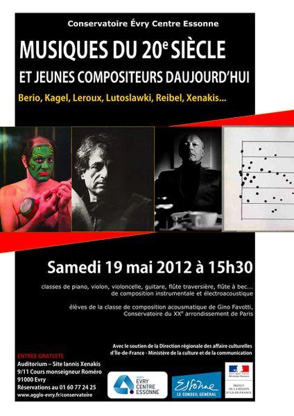 Musiques du XXe siècles et jeunes compositeurs d'aujourd'hui au Conservatoire d'Evry