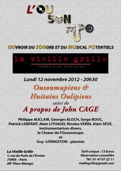 Concert de l'OuSonMuPo à la Vieille Grille le 12 novembre