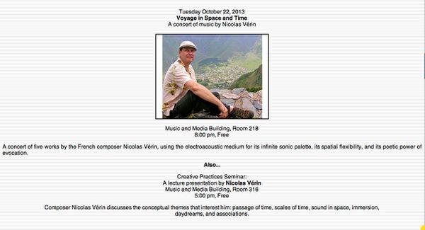 Irvine, 22 Octobre : concert d'oeuvres de Nicolas Vérin