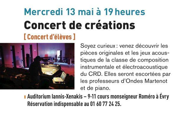 Concert de créations au Conservatoire d'Evry le 13 mai à 19h