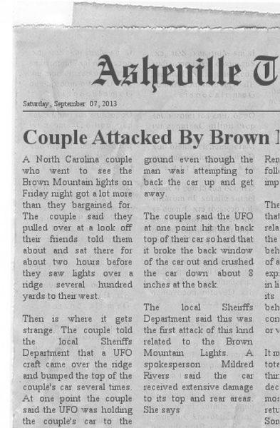 Les ovnis attaquent à Brown Mountain en Caroline du Nord