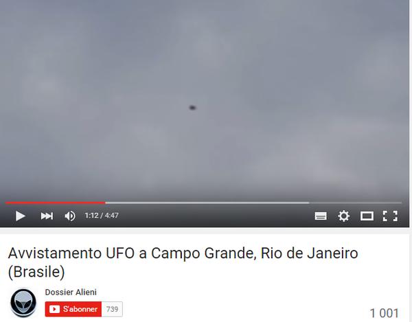 Ici j'ai extrait cette image de la vidéo, de l'ovni filmé à Campo Grande, au Brésil, le 04 octobre 2015. Il se déplace, et a une couleur très très sombre...