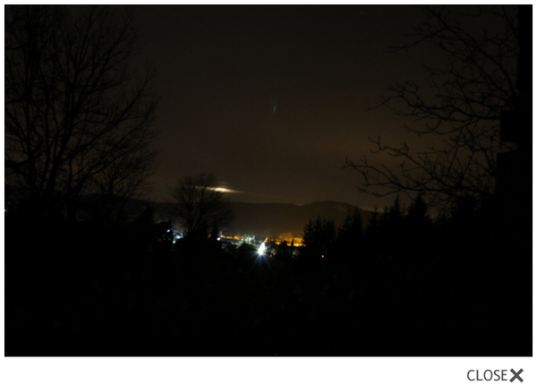 Crédit photo MUFON. Ovni à Cajarc, dans le Lot, France, le 28 mars 2016.