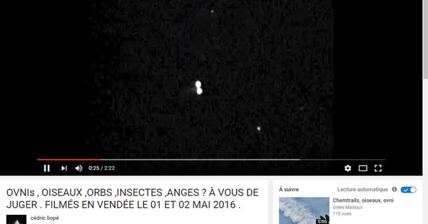 Photo : j'ai extrait cette image de la vidéo de Cédric Liopé. Ovnis en Vendée, les 1 et 2 mai 2016...