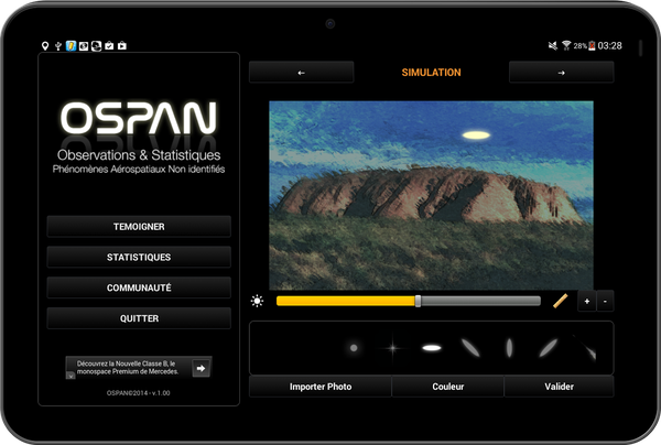 Photo : l'application ovnis pour mobiles, OSPAN...