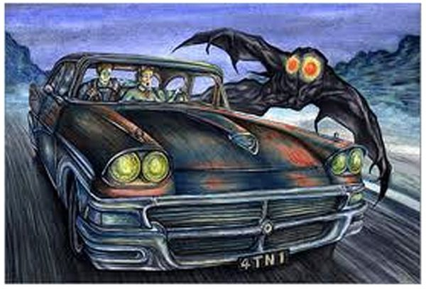 Illustration, la Créature Mothman en action...