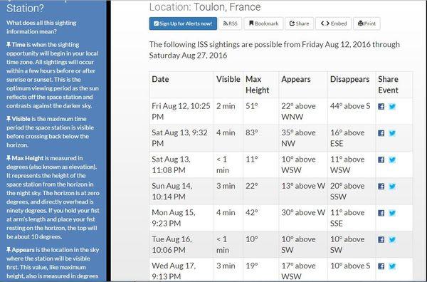 Image, sur le site officiel NASA. Positions de l'ISS , visible au-dessus de Toulon, en août 2016...