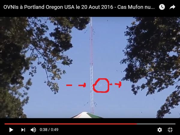 Photo : j'ai extrait cette image de la vidéo, et entouré en rouge ce groupe d'ovnis. A Portland, le 20 août 2016...