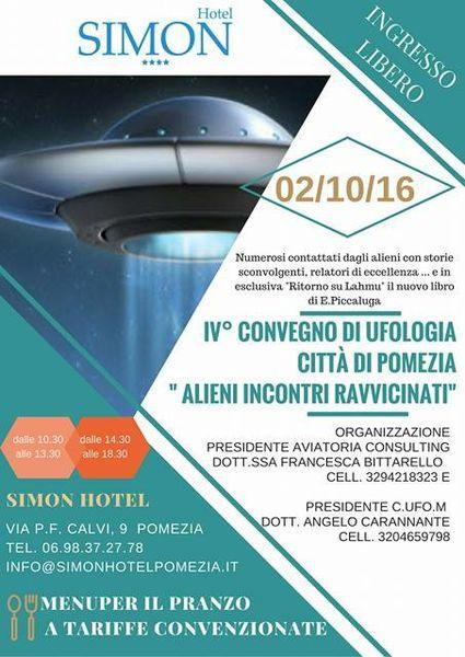 Image : l'affiche de la réunion Ovni à Pomezia, Italie, le 02 octobre 2016...