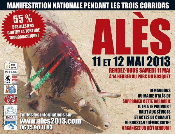 Alès : manifestation internationale unitaire contre les corridas