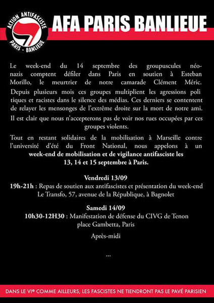 Paris : week-end de mobilisation antifasciste