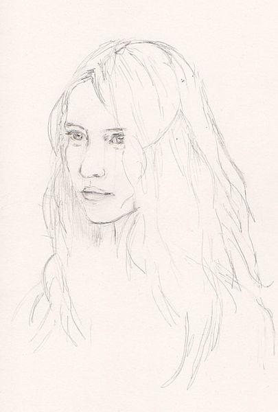 esquisse au crayon portrait d 39 une jeune femme les dessins de laure. Black Bedroom Furniture Sets. Home Design Ideas