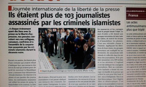 Journée internationale de la liberté de la presse (Algérie): Ils étaient plus de 103 journalistes assassinés par les criminels islamistes