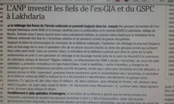 Algérie : L'Armée nationale populaire (ANP) investit les fiefs de l'ex-GIA et du GSPC à Lakhdaria (Bouira)