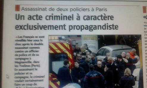 Assassinat de deux policiers à Paris :  Un acte criminel à caractère exclusivement propagandiste