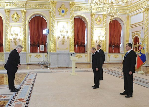 Russian President Vladimir Putin (2nd R, front), Foreign Minister Sergei Lavrov (R, back) and new U.S. ambassador to Russia John Tefft (L) attend a ceremony to hand over credentials at the Kremlin in Moscow on Nov. 19, 2014.