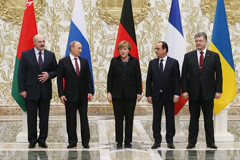 The meeting of the French, German, Russian and Ukrainian leaders in the Belarusian capital Minsk. Source: Kontantin Zavrazhin / RG