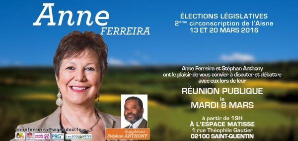 Anne FERREIRA, Stéphan ANTHONY : &quot&#x3B;Mardi 8 mars à Saint-Quentin, VENEZ DÉBATTRE AVEC NOUS&quot&#x3B;