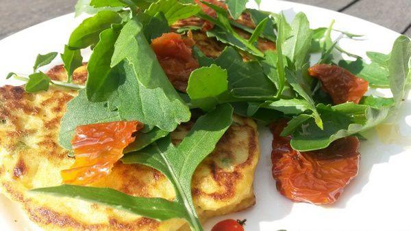 Pancake aux légumes et fromage frais