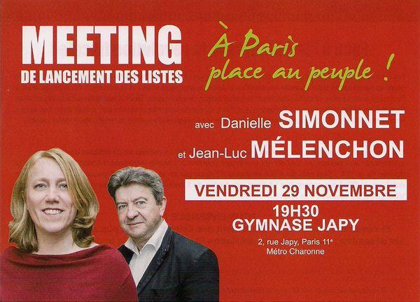 Le 29 novembre, Meeting de lancement des listes à Paris au gymnase Japy, avec Danielle Simonet et J-L Mélenchon