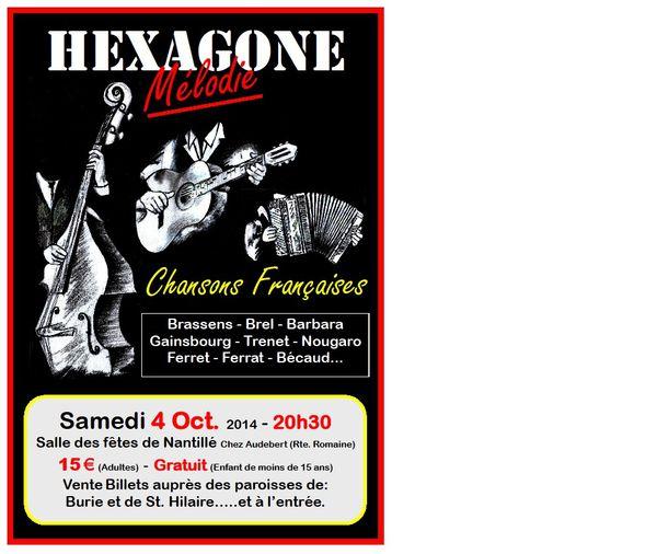 Nantillé / Le 4 Octobre, Concert &quot&#x3B;Chansons Françaises&quot&#x3B; avec Hexagone Mélodie