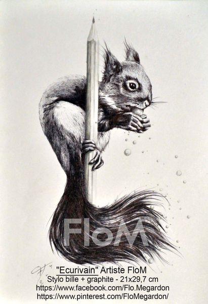 """""""Ecurivain""""-dessin stylo bille + graphite- format 21x29,7 cm"""