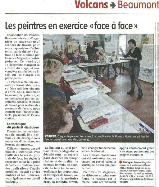 """Article journal La Montagne-Clermont Ferrand- sur les ateliers croquis """"Les bases du portrait"""" avec Flo.M"""