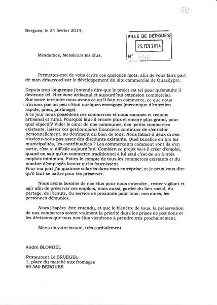 Courrier de M. BLONDEL (restaurant le Bruegel à Bergues) aux élus de la CCHF