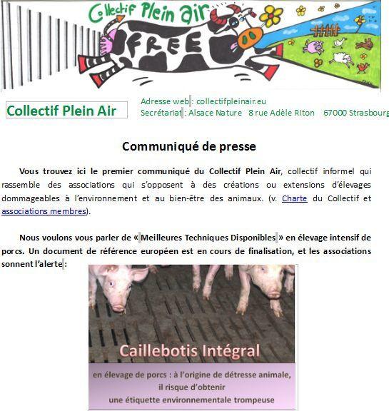 Premier communiqué du Collectif Plein Air, collectif informel rassemblant des associations opposées aux élevages usines dommageables à l'environnement et au bien-être des animaux