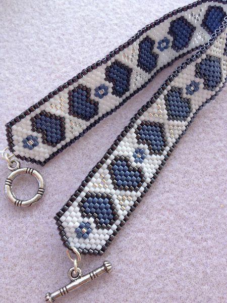 Bracelet manchette peyotte coeur bleu