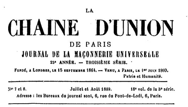 150 ans déjà! La Chaîne d'Union (revue)