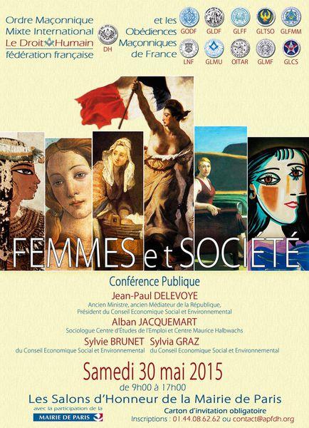 Droit Humain: «Femmes &amp&#x3B; Société» (Conférence, 30 mai 2015, Paris).