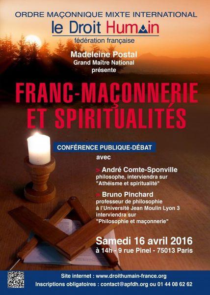 Droit Humain : « Franc-maçonnerie &amp&#x3B; spiritualités » (conférence, le 16 avril à 14 h)