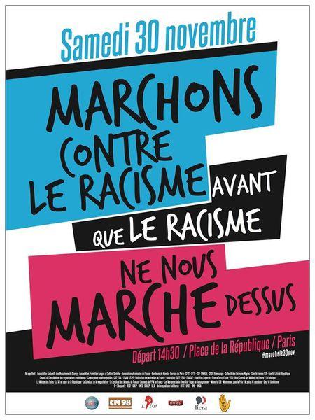 « MARCHONS CONTRE LE RACISME » Le 30 novembre 2013 à Paris, en France et dans les Dom Com