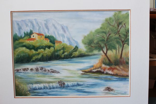 paysage - rivière - pastel sec