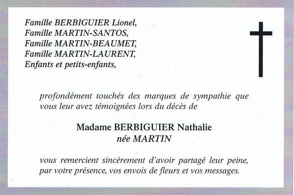 Remerciements de Madame MARTIN Marie-Neige