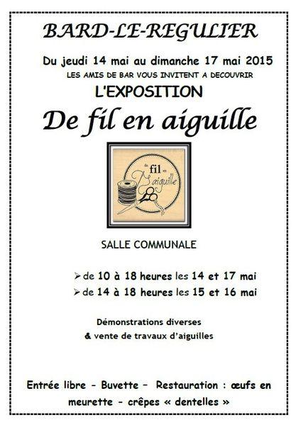 Exposition &quot&#x3B;De fil en aiguille&quot&#x3B; à Bard-le-Régulier