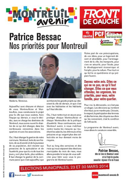 Montreuil Avenir, nos priorités pour Montreuil