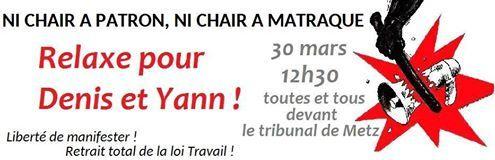 Solidarité avec Denis et Yann !