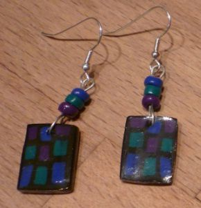 Boucles d'oreilles rectangle - fimo