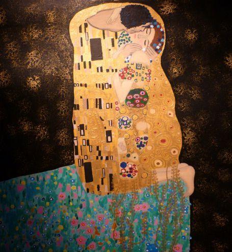 Tableau du Baiser de Klimt à l'acrylique